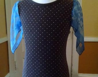 Girls Vintage Silk Scarf Tee Brown and Blue