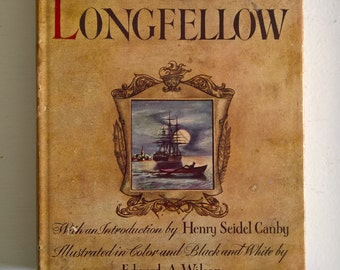 Favorite Poems of Henry Wadsworth Longfellow --- Vintage Classic American Poetry Book --- Romantic Literature Anthology Library Home Decor
