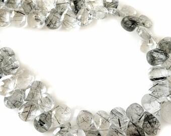Black tourmalated quartz faceted briolettes.  Approx. 5.25x7-7.25mm.  Select a quantity.