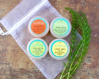Herbal Salve Set, Travel Sized Herbal Salve Set, Organic Calendula Salve, Lemon Balm Lip Balm, Natural First Aid, Yarrow Salve, Arnica Salve