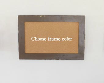 Framed Cork Board / Bulletin Board made from Distressed Wood Shown in Dark Chocolate 24 x 36 *MORE COLORS AVAILABLE*