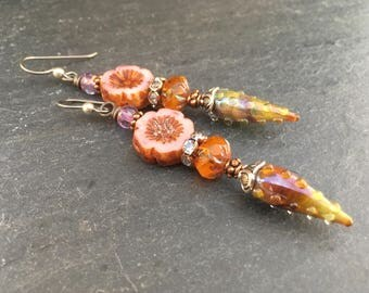 Garden Spike Earrings, Springtime Earrings, OOAK, Artisan Lampwork Glass, Lampwork Headpins, Boho Dangle Earrings, Summer, Spring Earrings