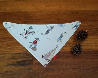 Retro baby bandana scarf bib - little boy baby bib - imaginative play - little boy baby gift - cotton baby bib -  blue and red bib scarf