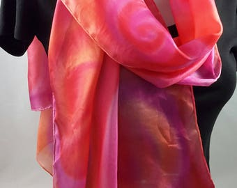 Silk scarf long hand painted pink orange red
