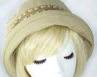 Womens Cotton Summer Hat Tan Beige | Upturned Curled Brimmed | Casual Sun Hat | Boho Bowler Beach Hat | Neutral Cotton Sun Hat XS-XXL