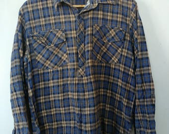 Vintage plaid flannel shirts / cotton shirts - five available, great condition vintage