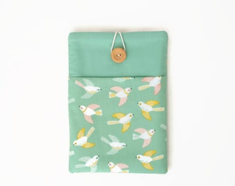 Kindle Cover, Kindle Oasis case, Kindle Paperwhite case, Kindle Voyage sleeve, Padded Ereader Sleeve with pocket - green and yellow birds