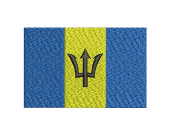 Machine Embroidery Design Instant Download - Barbados Flag