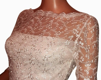Bridal Ivory or White embroidered lace bolero/ cover / shrug up size UK 8  to 18