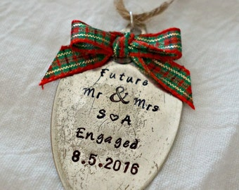 Custom Engagement Ornament, Stamped Spoon Ornament, Custom Christmas  Ornament, Engagement Gift, Christmas
