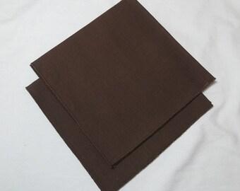 1980s Vintage Woven Set of 2 Napkins in Herringbone Dark Brown, 16 x 17 Inches, Vintage Linens, Vintage Dinner Napkins, Heavy Weight Napkins