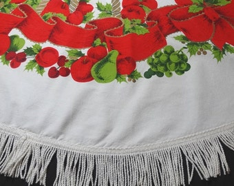 1960s Vintage Round Fringe Christmas Tablecloth with Ribbon, Fruit, Candles, 62 In. Round, Vintage Christmas Decor, Vintage Christmas Linens