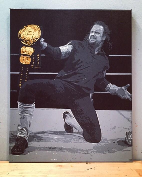 The Undertaker Custom Pop Art Wrestler Painting Hand Painted Canvas Mark William Calaway