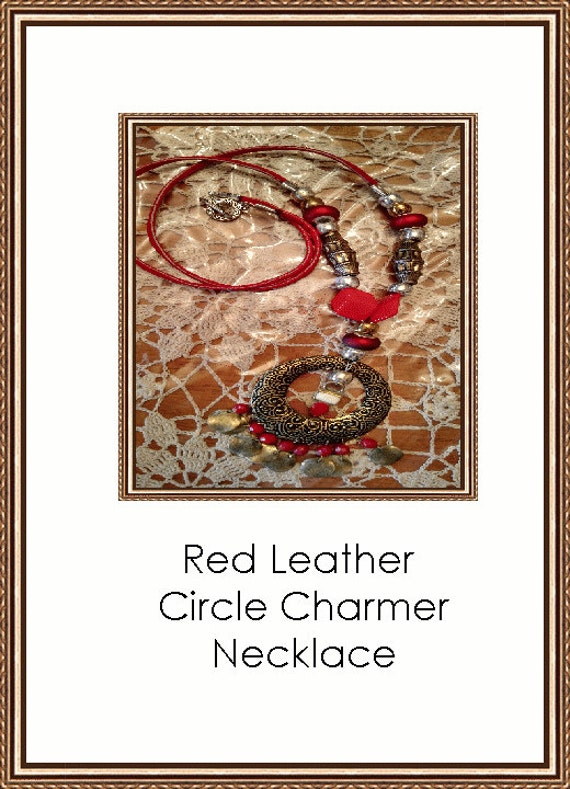Red Leather Circle Charmer