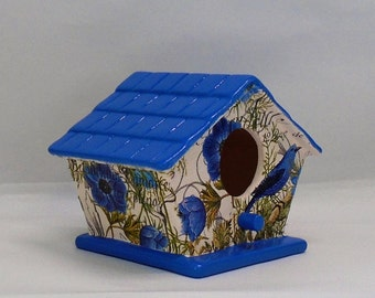 "Handmade Ceramic Decoupage Birdhouse, Bluebirds, Floral, Decorative Use Only, 5 1/4"" x 3 3/4"" x 4"""