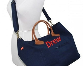 Monogrammed Canvas Tote Cargo Duffle Duffel Weekend Travel Bag Red Navy Coral Orange