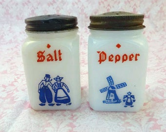 Vintage Dutch Milk Glass Salt and Pepper Shakers Windmills Boy and Girl Red White and Blue Made in USA