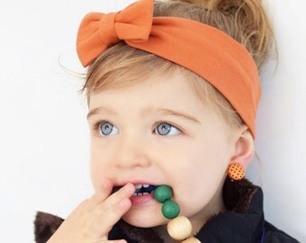 Orange Bow Headband, Bow HeadWrap, Orange Headbands, Baby Headband, Orange Headwrap, Baby Bows, Toddler Headband