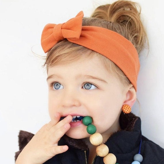 Orange Bow Headband, Bow HeadWrap, Orange Headbands, Baby Headband, Orange Headwrap, Baby Bows, Toddler Headband