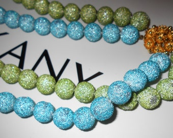 Vintage sugar ball necklace beaded floral gold brass safety clasp 2 strand Mermaid Jewelry caribbean blue and sea green