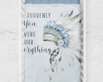 Indian Baby Boy Quilt, Boy Crib Bedding, Feather Indian Baby Boy Bedding, Blue White Crib Quilt, Southwestern Feather Indian Theme Nursery