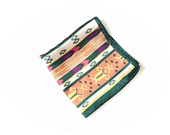 Tribal print scarf, southwestern print scarf, tribal scarf, southwest scarf, silk scarf, obliged scarf
