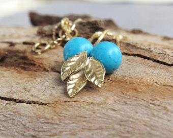 Turquoise pendant necklace, 14k gold necklace, Turquoise pendant, Turquoise necklace, December birthstone, gift, Unique Turquoise Necklace