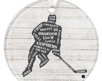 Boys Ceramic Hockey Ornament, Christmas Ornament, Personalized Hockey Ornament, Hockey