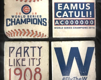 Chicago Cubs Coasters/Tiles - Set of 4. World Series Champions - Tumbled Marble 4in. x 4in.