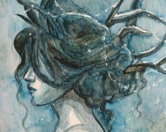 Antler woman (original watercolor)