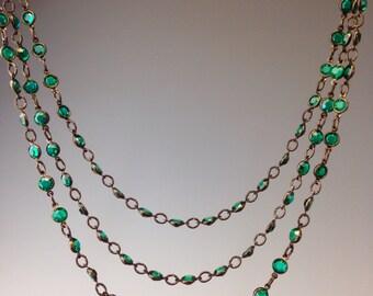 Swarovski Crystal Necklace, St. Patricks day jewelry, Art Deco Jewelry, 1920's jewelry, Green necklace, Green Jewelry, Green Swag