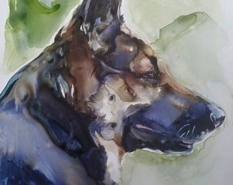 German Shepherd, Dogs, Original watercolor, Shepherds