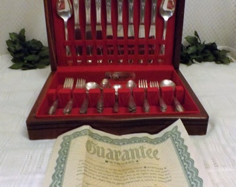 1937 Wm Rogers Silver Plate Flatware Service for 8 Memory Pattern  51 total Pieces with Original Case