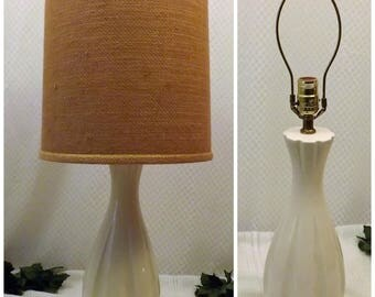 60's Danish Modern Ceramic Table Lamp w Orig Shade