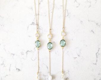 aquamarine drop necklace