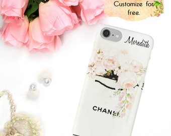 Chanel Phone Case, Chanel Shopping Bag, Watercolor Phone Case, iPhone X 6 7 8 Plus, Samsung Galaxy Edge Luxury Fashion Designer Phone Wallet
