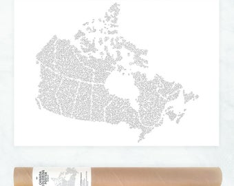 Canada coloring poster, dots pattern, bubbles coloring page, Canada map wall art, patriotic gifts, travel map of Canada, coloring for adults