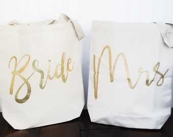 BRIDE to MRS Bag! Double Canvas Tote Mud Pie Gold Jute Bride Bag Personalized - 2 in 1!