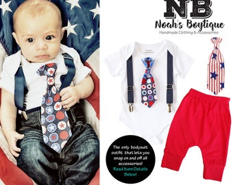 Baby Boy 4th of July Outfit - Fourth of July Shirt - Newborn Fourth of July - Patriotic Memorial Day - Toddler - Infant - Star Tie Suspender