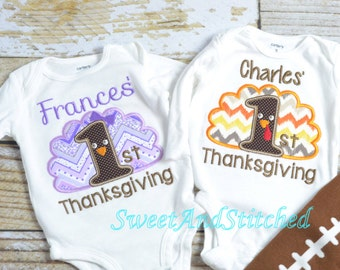 1st Thanksgiving Shirts, Twin Thanksgiving shirts, Twin 1st Thanksgiving outfits - My 1st Thanksgiving