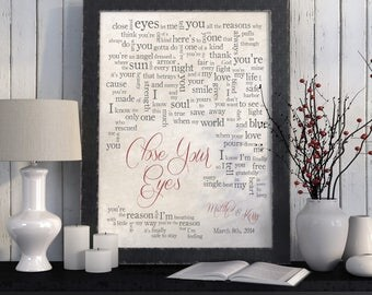 Wedding Song Lyric Art: Close Your Eyes - Michael Bublé - First Dance Song - Wedding Dance Lyrics - Anniversary Gift - Made to Order