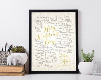 Holy Wedding Day // The City Harmonic // 1st Anniversary Gift for husband wife-Song Lyrics//Personalized names//date pick colors verse print