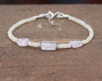 Natural Kunzite, Pink Sapphire and Opal Bracelet in Solid 14K White Gold , 5th 14th 45th  Anniversary , September October Birthstones