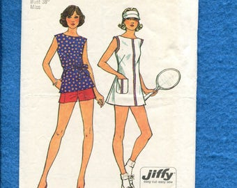 1970's Simplicity 6398 Retro Tennis Dress & Shorts Pattern Size 16