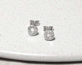 Molten Silver Studs, Handmade Silver Earrings, Simple Sterling Silver Earrings, Textured Earrings, Delicate Silver Earrings, Birthday Gift