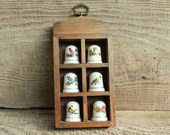 Thimble Display with six thimbles with birds , miniature wall shelf  thimbles holder  thimbles wall display  thimble shelf porcelain thimble