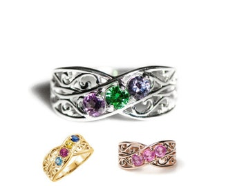 Filigree Lined Mother's Ring Family Birthstone with 1 2 3 4 or 5 Stones in Sterling Silver; Continuum S; 10k, 14k White, Yellow or Rose Gold