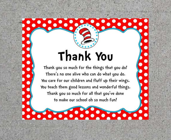 Dr. Seuss Thank You Teacher Appreciation End Of The Year Party