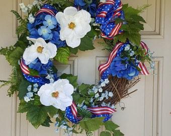 4th of July Wreaths |Memorial Wreath | Americana Wreath |July 4th Summer Wreath | Cottage Door Wreath | Patriotic Wreath |