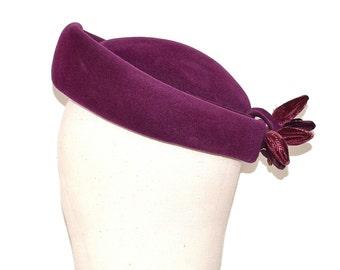 60s Ladies Felt Hat - Vintage Purple Brimmed Pillbox Hat - Merrimac Velour Mid Century Ladies Hat - Lucila Mendez 1960s Formal Jackie O Hat